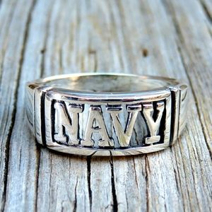 SOLD Vintage 925 Navy Military Ring Band